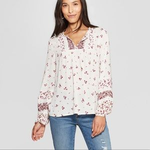 Knox Rose Long Sleeve Boho Blouse-Medium